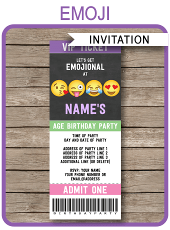 Emoji Party Ticket Invitations Template Editable Emoji