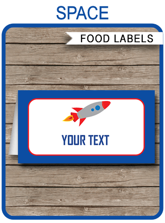 Space Party Food Labels Place Cards Space Theme