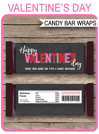 Valentine S Day Candy Bar Wrappers Personalized