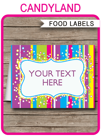 Colorful Food Labels Place Cards Printable & Editable