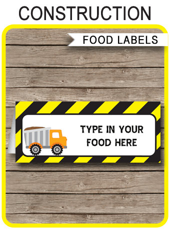 Construction Party Food Labels Place Cards