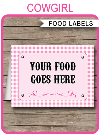 Cowgirl Party Food Labels Place Cards Cowgirl Theme Party