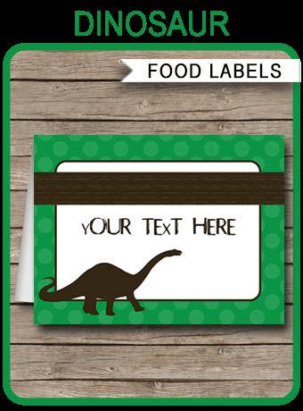 Dinosaur Theme Food Labels Place Cards Dinosaur