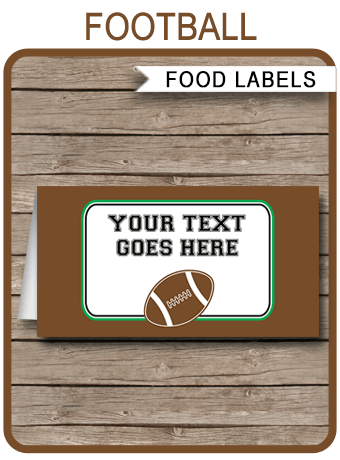 Football Party Food Labels Place Cards Editable