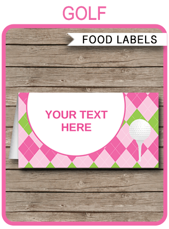 Golf Theme Food Labels Place Cards Ladies Golf