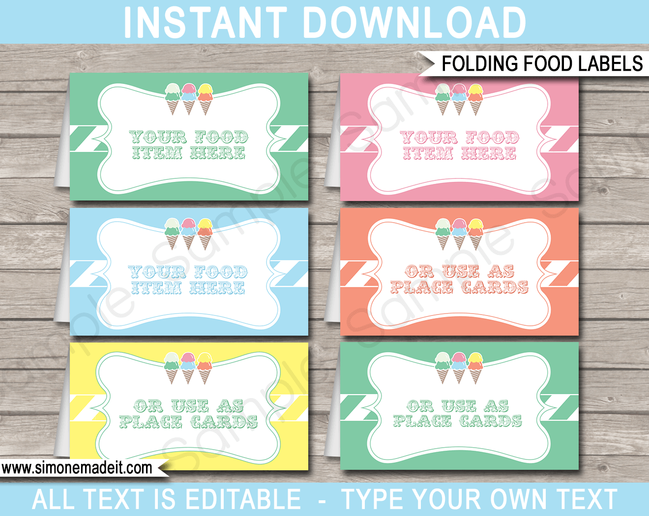 Ice Cream Party Food Labels Place Cards Ice Cream Theme Party
