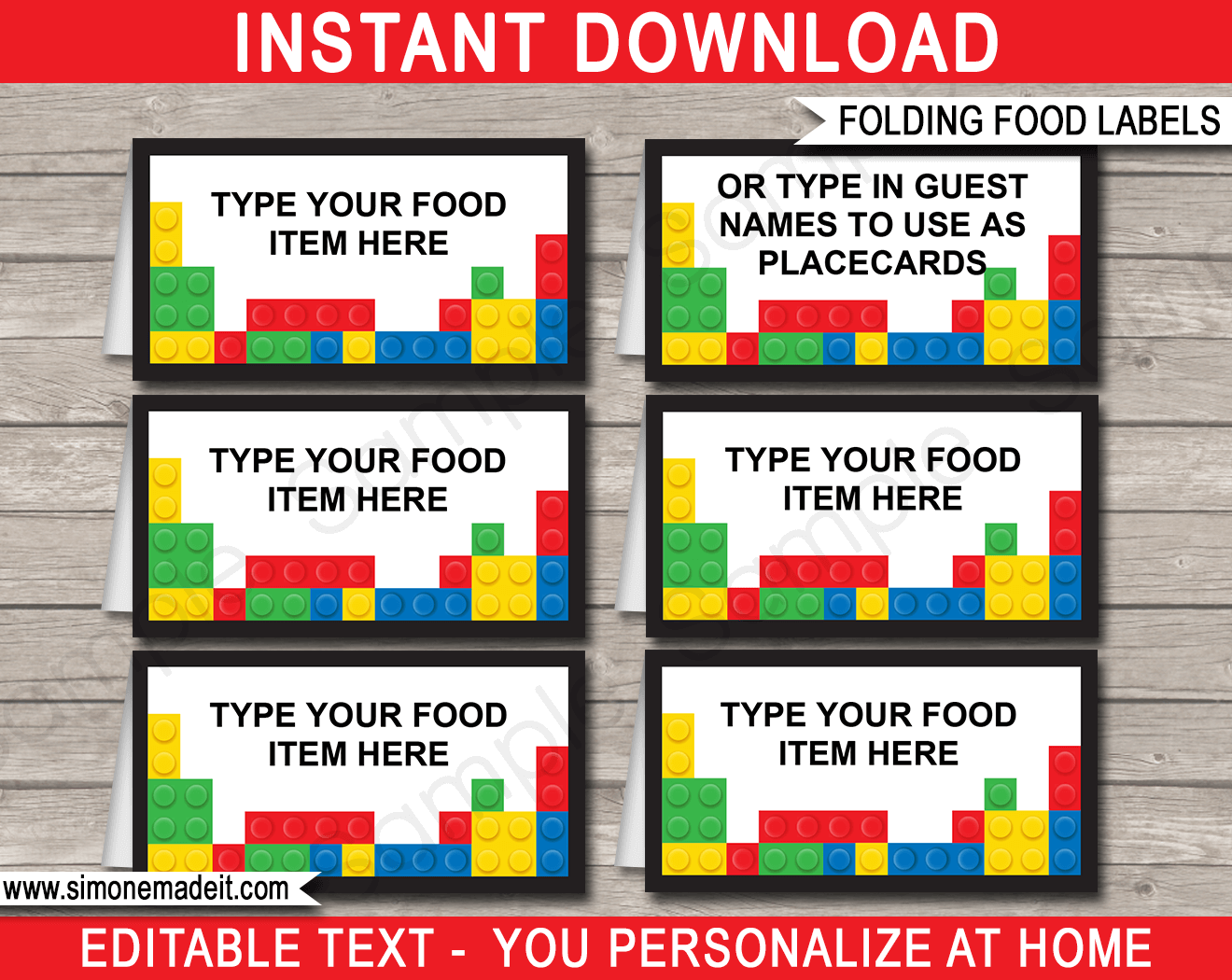 lego party food labels