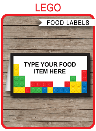 Lego Party Food Labels Place Cards Lego Theme Birthday