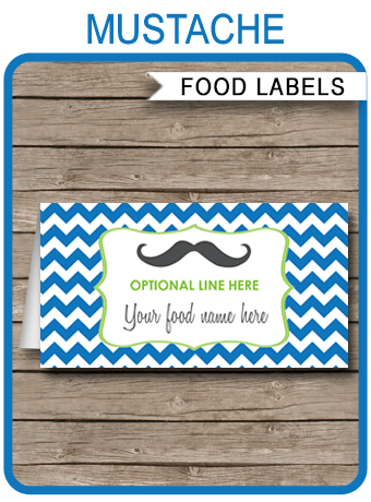 Mustache Party Food Labels Place Cards Little Man Or