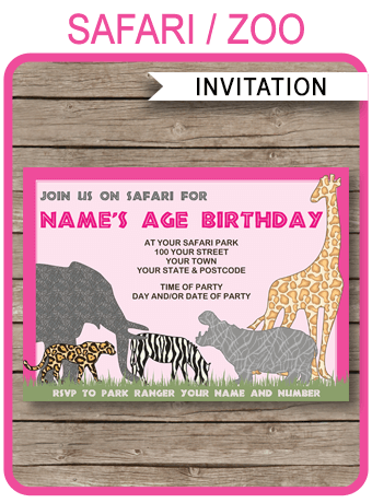 Safari Or Zoo Party Invitations Template Pink Birthday Party