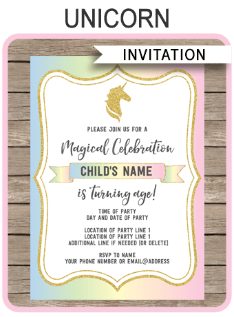 Unicorn Party Invitations Template Unicorn Theme