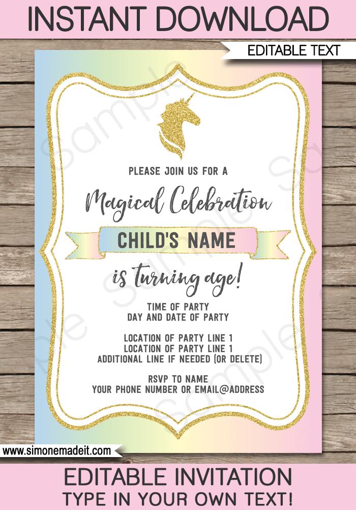 unicorn party invitations template