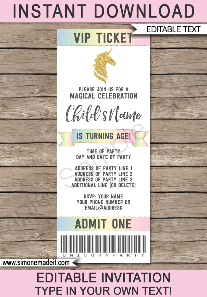 unicorn party ticket invitations template
