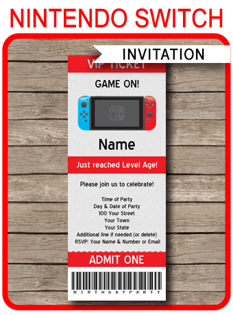 Nintendo Switch Party Ticket Invitation Template Video