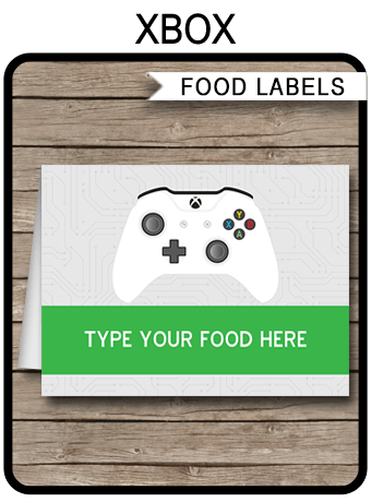 Xbox Party Food Labels Place Cards Video Game Theme Party