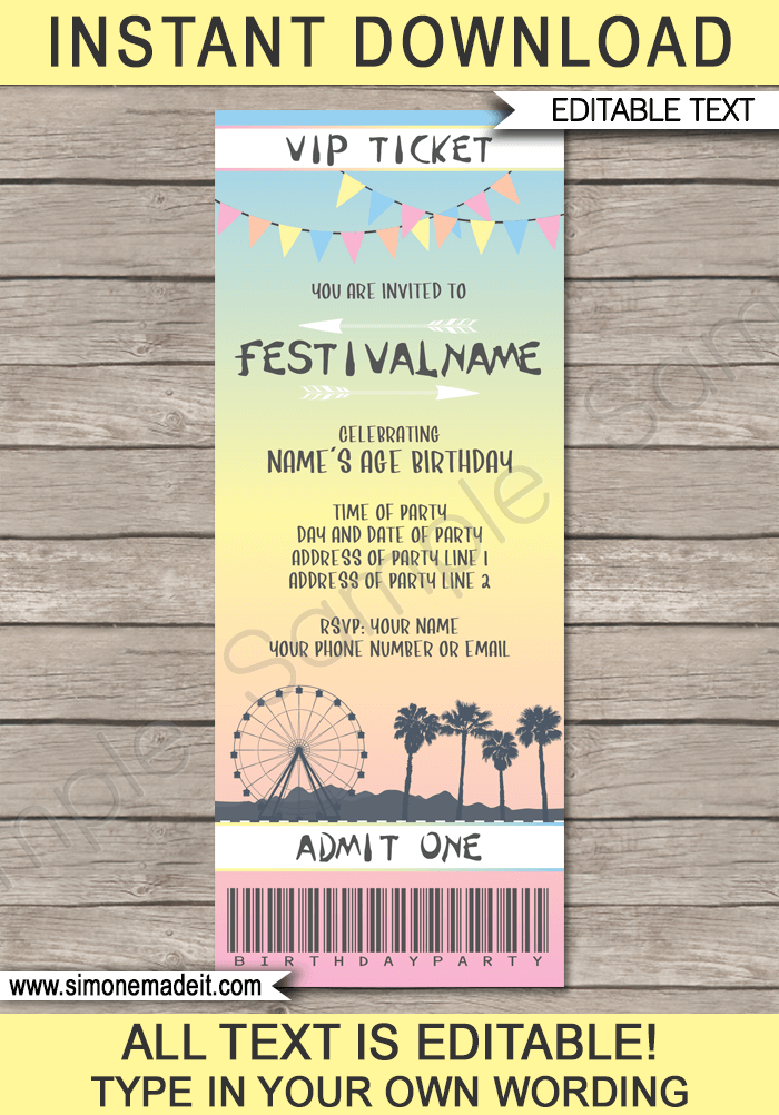 coachella themed party ticket invitation template pastel colors