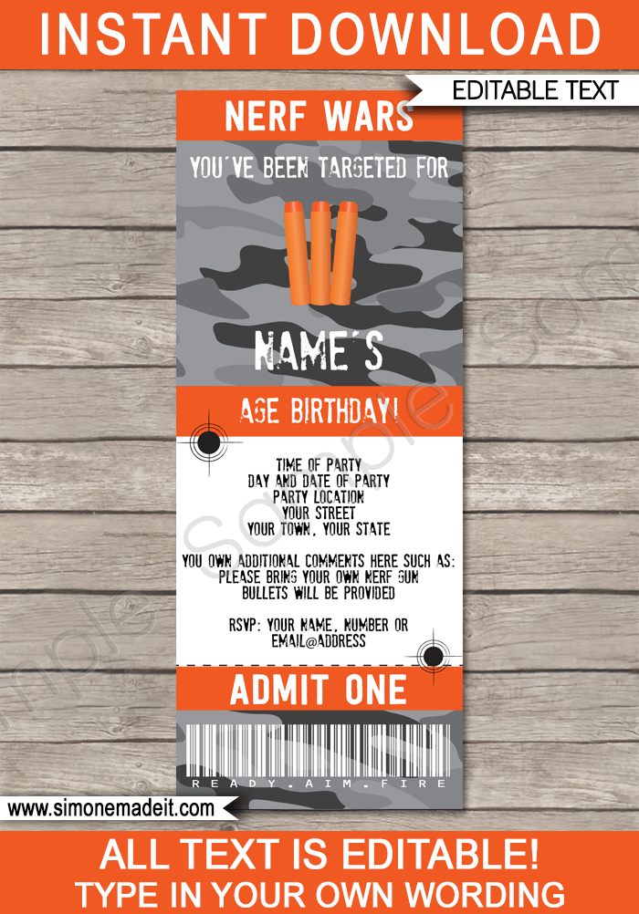 nerf wars ticket invitations template gray camo
