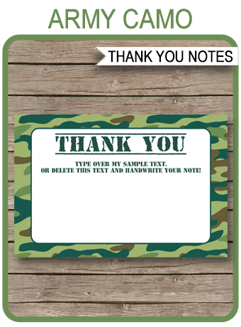 Printable Green Camo Thank You Cards Army Birthday Party