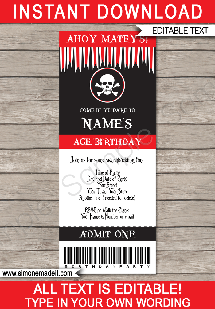 pirate party ticket invitation template