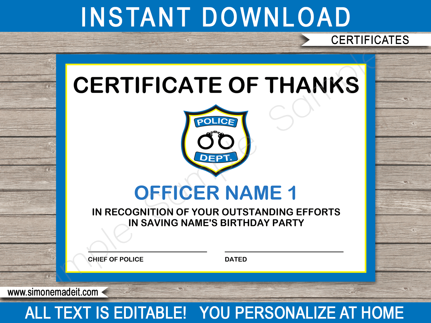 Printable Police Officer Certificate Template