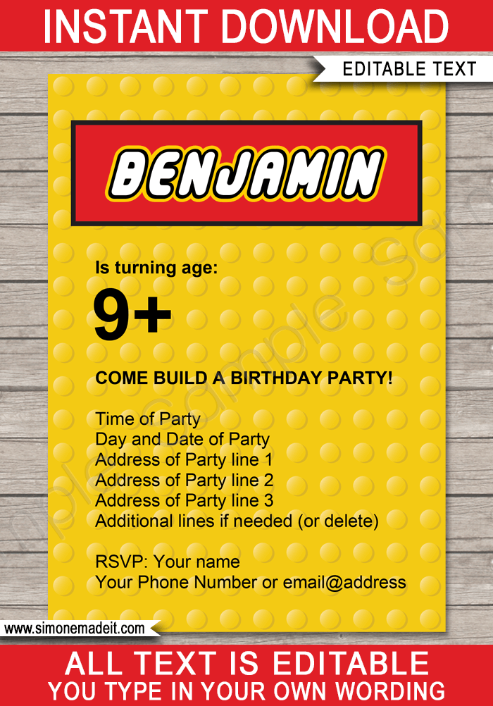 lego party invitations template yellow
