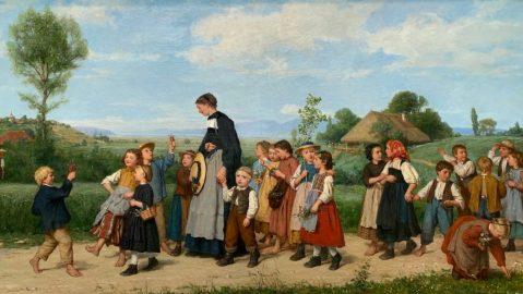 Albert Anker, L'école en promenade, 1872, huile sur toile
