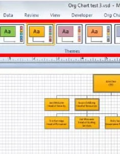 You will get  preview of how the theme look on your org chart when hover mouse particular also using themes layouts and arrangement in visio rh simonsezit