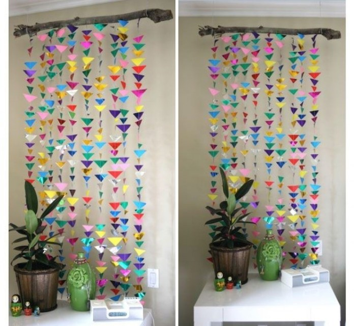 1 DIY Colorful Paper Curtain via simphome