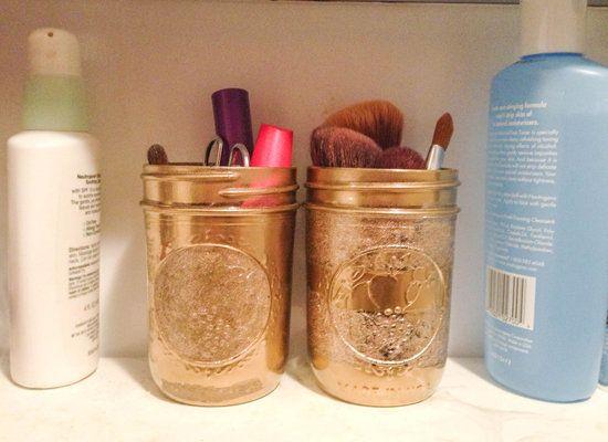 simphome mason jar makeup storage