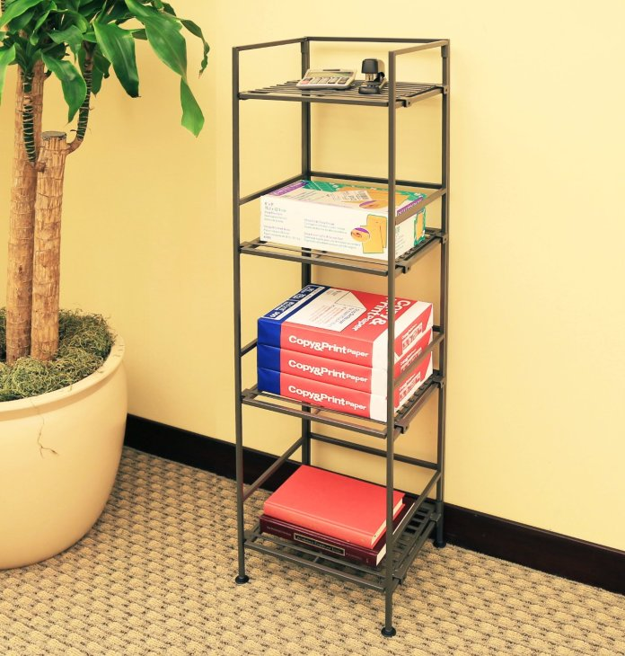 2 Seville Classics 4 Tier Iron Square Tower Shelving via simphome 8