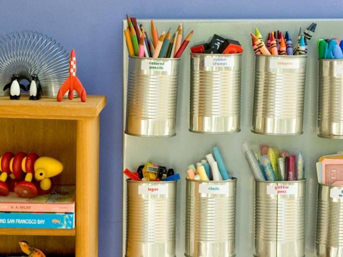 19 tin can crayon storage