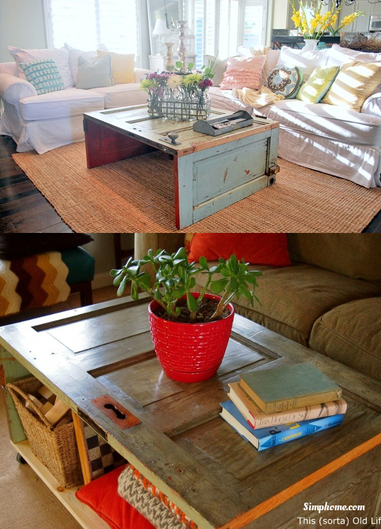 Coffee Table from repurposed old door Simphome com