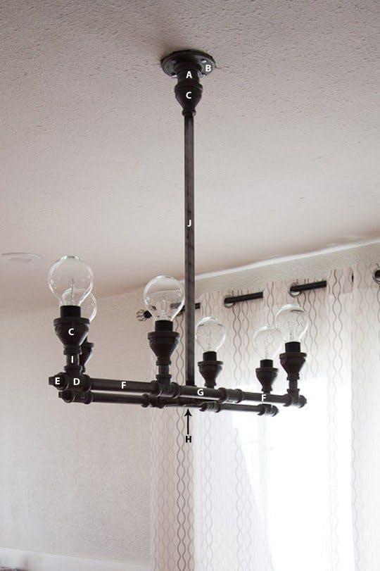 18 DIY Room pipe chandelier Simphome com