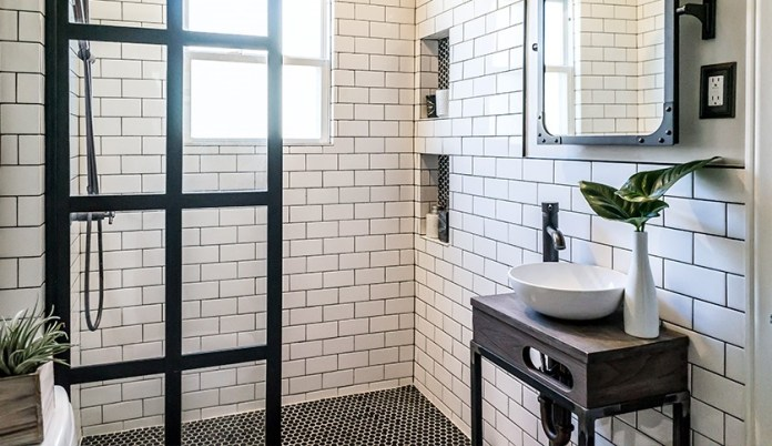 3 White Subway Tiles and Tiny Black Mosaic Tiles Simphome com