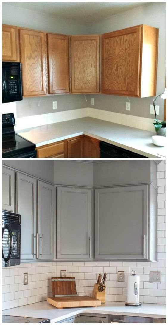 8 A new look with classic features like gray cabinets Quartz counters and subway tile Simphome