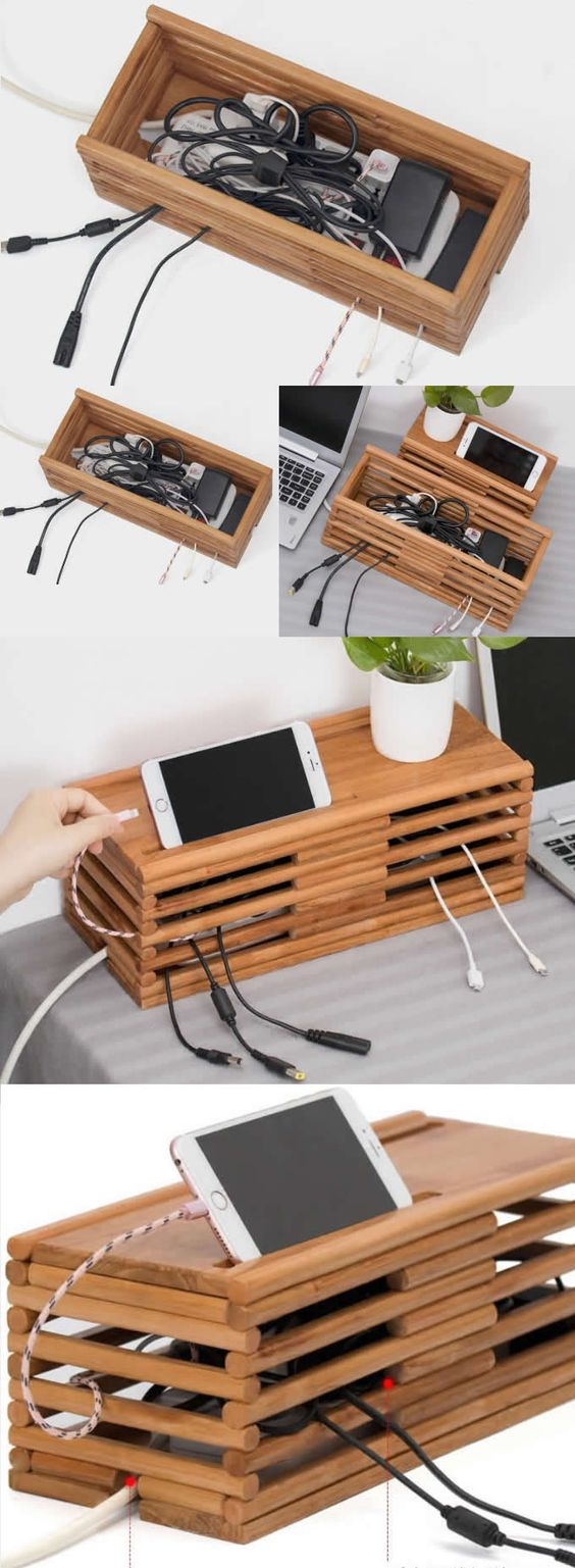 154 A Bamboo Cable management box organizer via Simphome