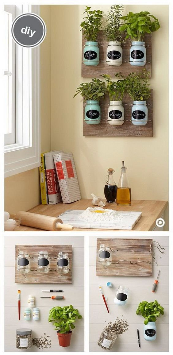180 DIY Indoor Mason Jar Herb Garden via simphome