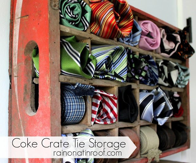 1 Upcycle Coke Crate to Store Ties via simphome