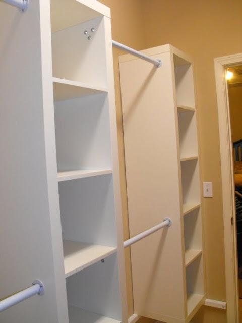 31 Expedit shelving in a walk in closet is a cheap alternative to custom closets via simphome