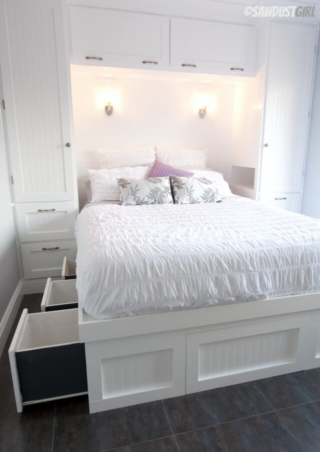 8 Invest in a Bed Frame with Built In Drawers via simphome