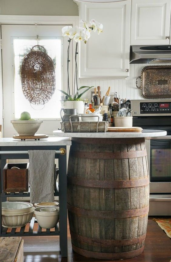 8. Wine Barrel Kitchen Island via Simphome