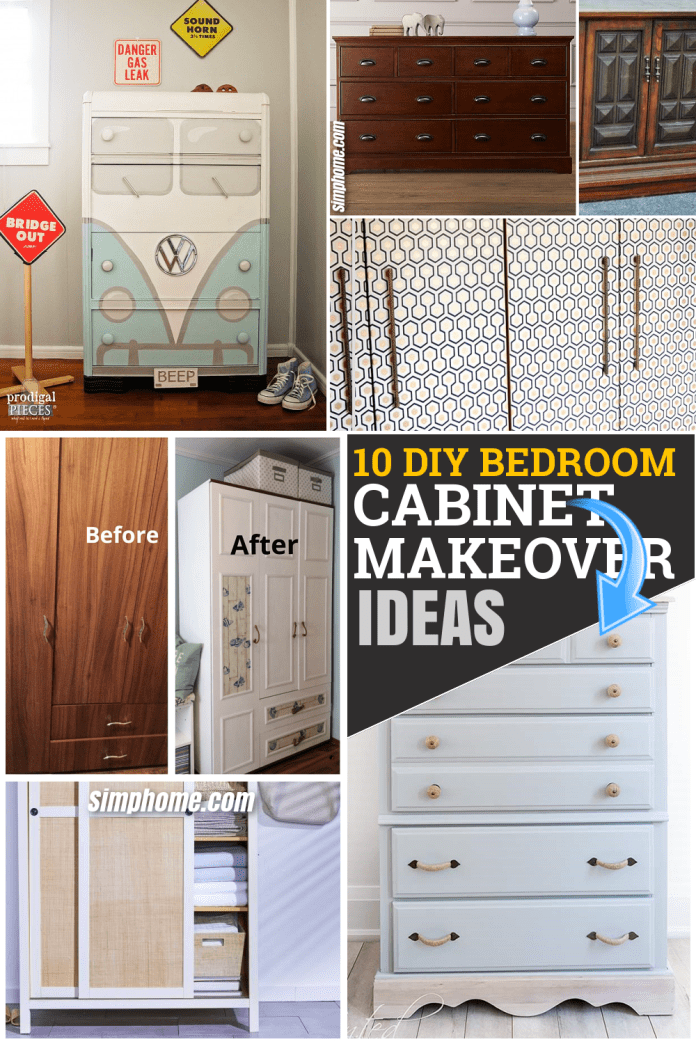 10 DIY Bedroom Cabinet Makeover on a Budget via Simphome.com Feature Pinterest image