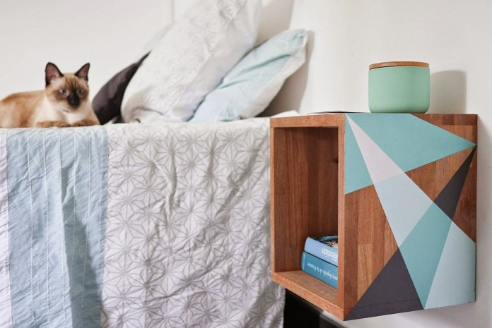 10. Make Floating Nightstand with Storage via Simphome