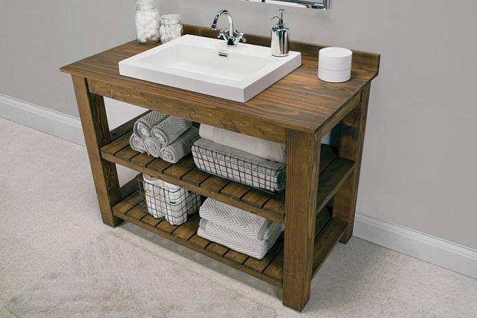 6. Simple Bathroom Vanity via Simphome