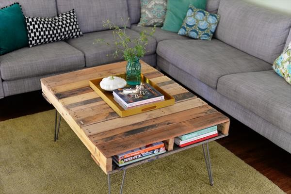 7. Chic Coffee Table with Metal Hairpin Legs via Simphome