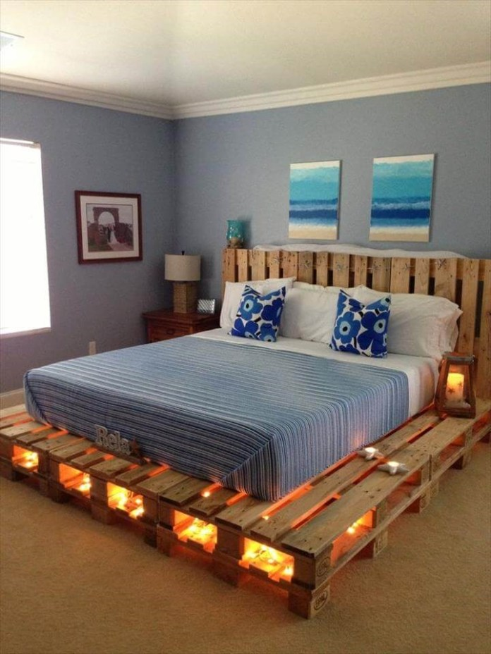 7. Pallet Bed Frame with Lights via Simphome