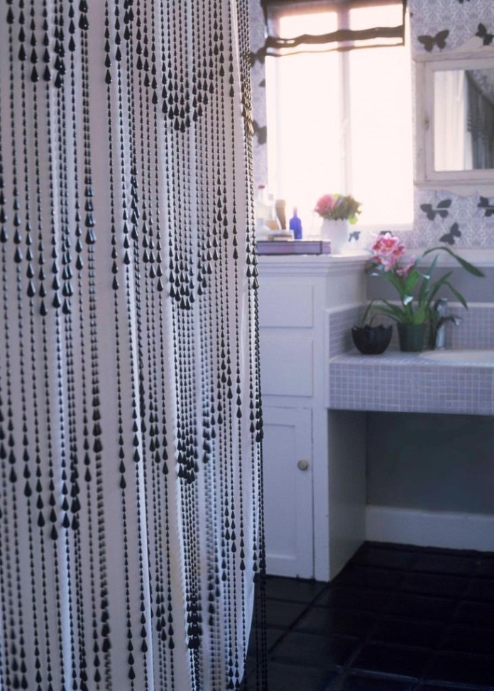 3. Beaded Shower Curtain via Simphome