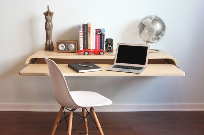6. Wall Mounted Desk with Extra Workspace via Simphome
