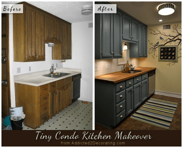 6. Old Look to Elegant Gray Kitchen Cabinet Makeover via Simphome.com