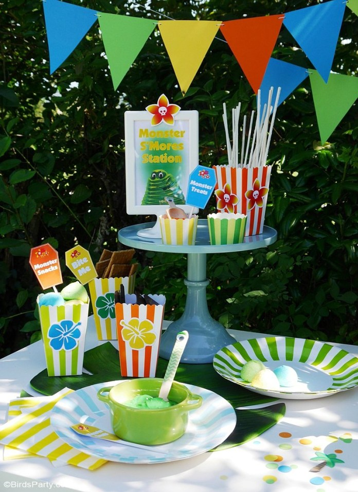 a summer backyard camping party with free printables party ideas with backyard camping